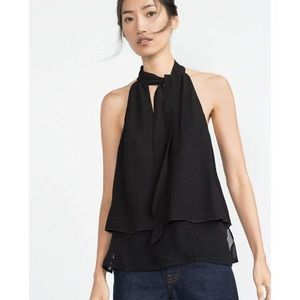 Zara Layered Sheer V-Neck Tie and Tiered Top